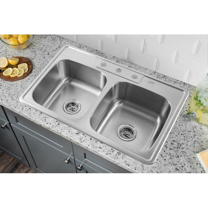 drop in kitchen sink. 20 Gauge Stainless Steel 33\ Drop In Kitchen Sink