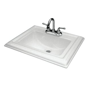 Transolid Avalon Vitreous China Rectangular Drop-In Bathroom Sink with Overflow