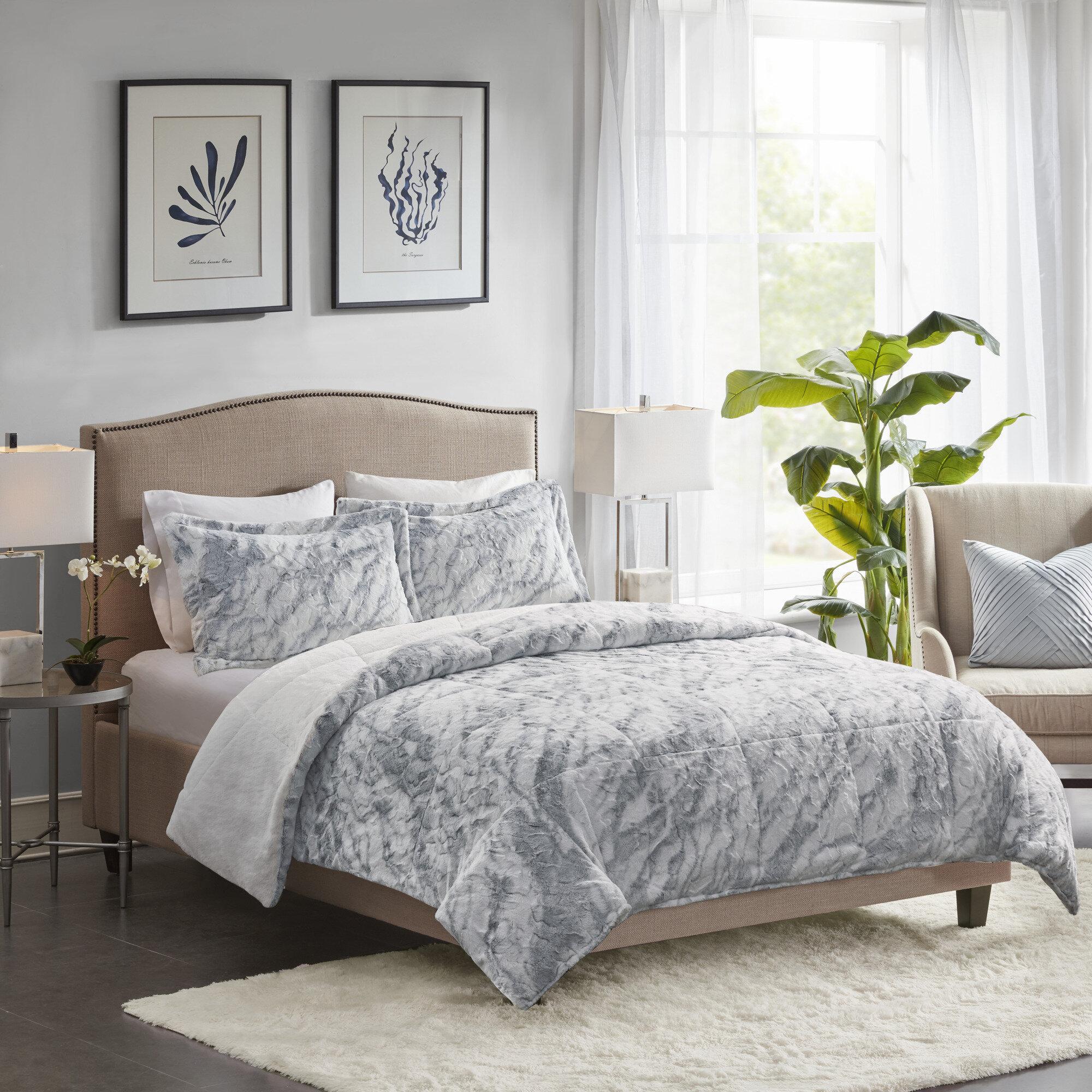 Foundry Select Corisande Marble Faux Fur Comforter Set Reviews