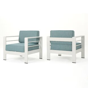 Villegas Outdoor Patio Chair with Cushions (Set of 2)