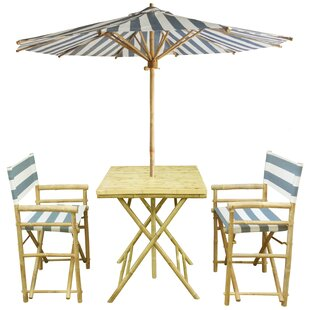 Sinta Bamboo 3 Piece Bistro Set with Umbrella by Bay Isle Home