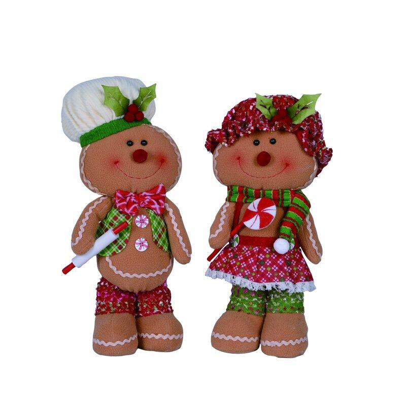 The Holiday Aisle 2 Piece Fabric Christmas Plush Gingerbread Figurine Set Wayfair