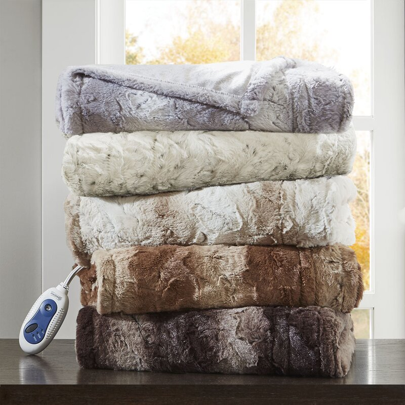 Oversized Heated Faux Fur Throw | Wayfair
