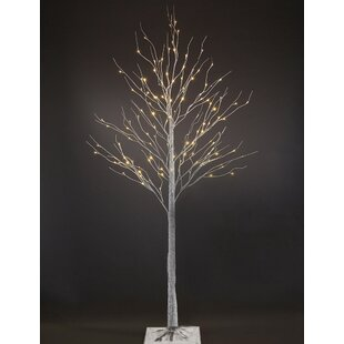 7 White Birch Artificial Christmas Tree With 120 Warm Leds And Adjule Branches