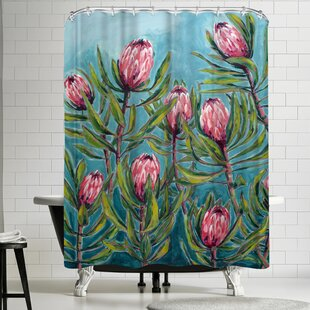 Paula Mills Pink Protea Painting Single Shower Curtain