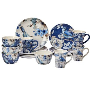 Lindholm 16 Piece Dinnerware Set Service for 4  sc 1 st  Wayfair & Blue Floral Dinnerware Sets Youu0027ll Love | Wayfair