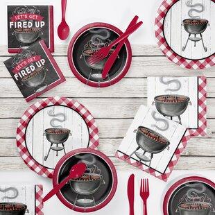 73 Piece Backyard BBQ Paper/Plastic Disposable Party Supplies Kit