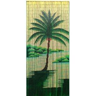 Halcyon Palm Tree Graphic Print Text Semi Sheer Single Curtain Panel