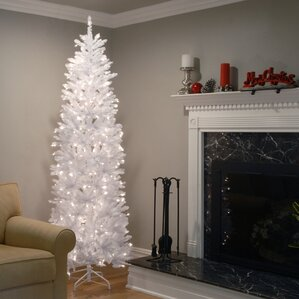 kingswood hinged pencil white fir artificial christmas tree with clear lights with stand - White Christmas Tree Lights