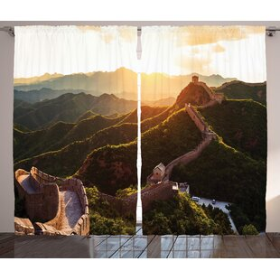 Brennan Great Wall Of China Historical Structure At Sunset Time With Hazy Lights Mystic Image Graphic Print & Text Semi-Sheer Rod Pocket Curtain Panels (Set Of 2) by Bloomsbury Market