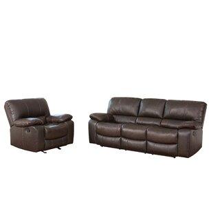 Latitude Run Husebye Reclining 2 Piece Leather Living Room Set