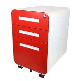 Elsa Glide 3-Drawer Mobile Vertical Filing Cabinet by Rebrilliant