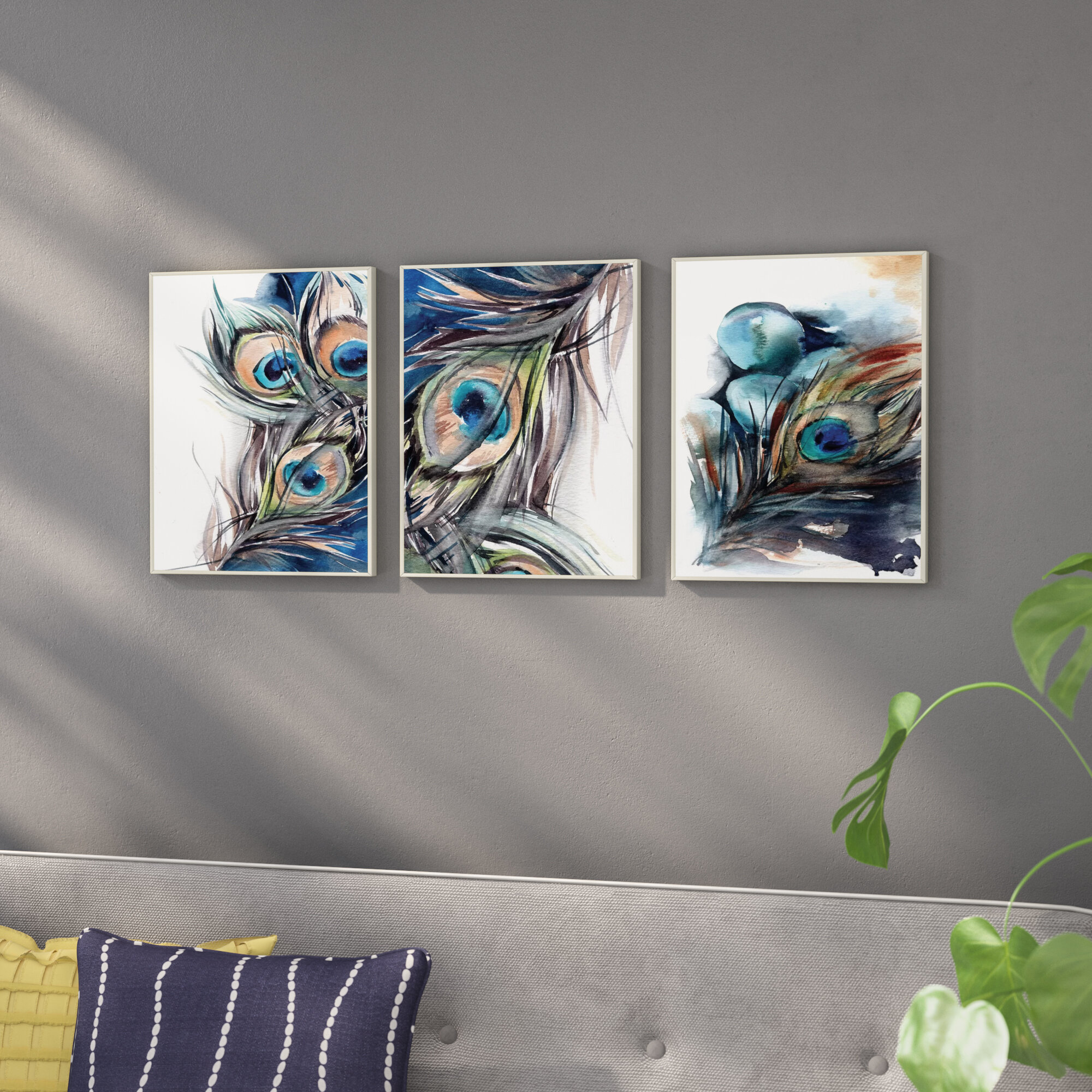 Abstract Peacock Feather 3 Piece Lithograph Print Set On Wood
