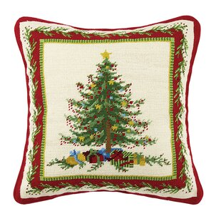 Casiano Holiday Needlepoint Throw Pillow