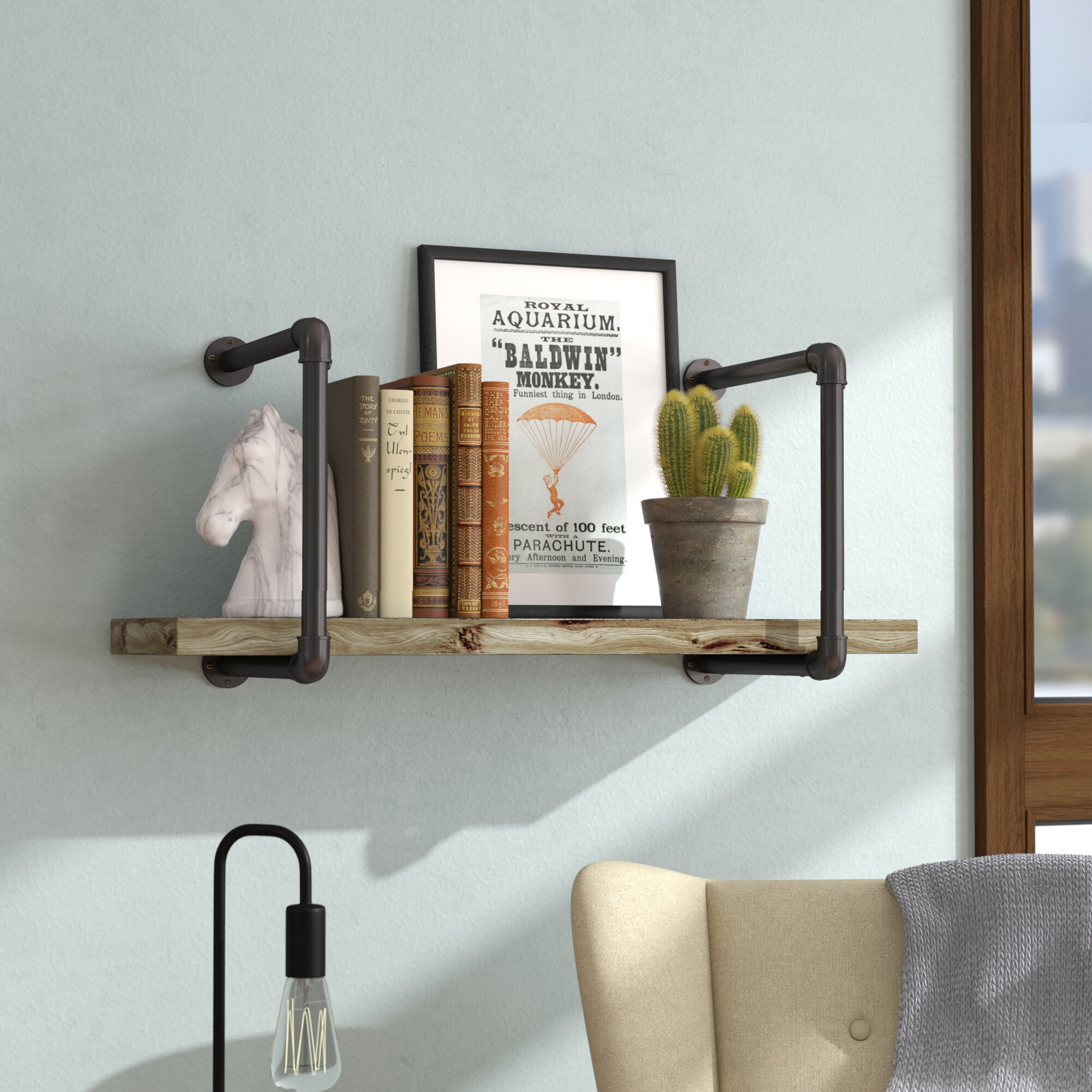 Williston Forge Shavonne Industrial Pipe Wall Shelf & Reviews