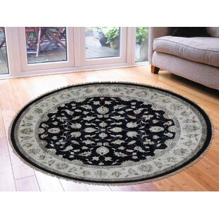 Great choice One-of-a-Kind Bear Hand-Knotted Oval 10'1 x 10'2 Wool/Silk Black/White Area Rug By Isabelline