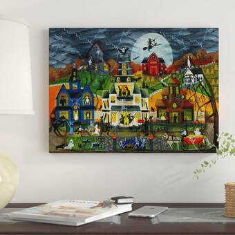 'Spooky Street' Acrylic Painting Print on Wrapped Canvas - Halloween wall art
