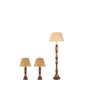 Red Barrel Studio Verrill 3 Piece Table and Floor Lamp Set