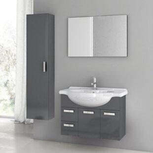 Phinex 34 Single Bathroom Vanity Set with Mirror by ACF Bathroom Vanities