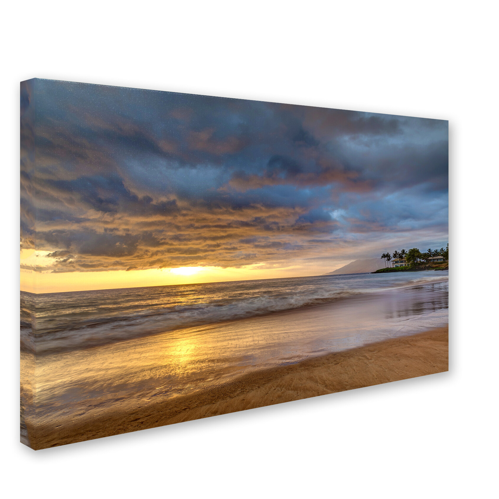 Trademark Art Secret Beach Sunset By Pierre Leclerc Photographic Print On Wrapped Canvas Wayfair