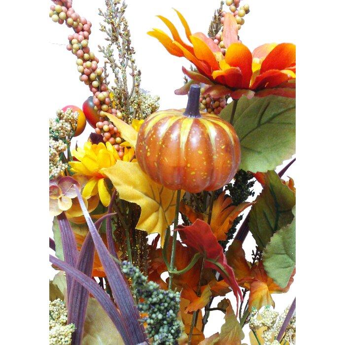 14 Artifical Pumpkins Sunflowers Daisy Berries Leaves Filler Mixed Flower Fall Harvest Bush For Halloween Or Thanksgiving Decoration Arrangement