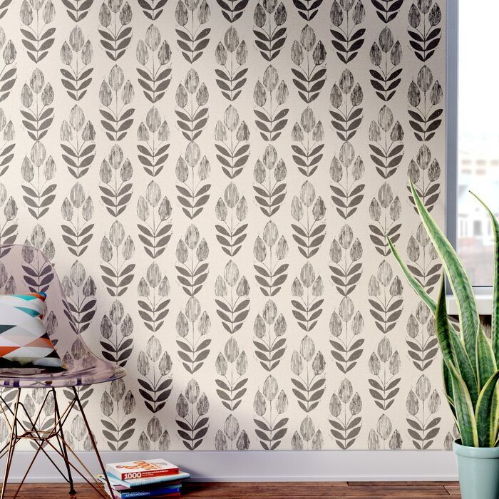 Ladwig Scandinavian Block Tulip Floral 33 X 20 5 Wallpaper Roll