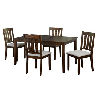 Rhem 5 Piece Solid Wood Dining Set by Charlton Home