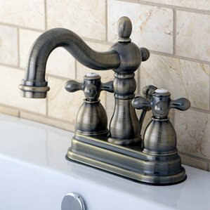 heritage centerset double handle bathroom faucet with popup drain