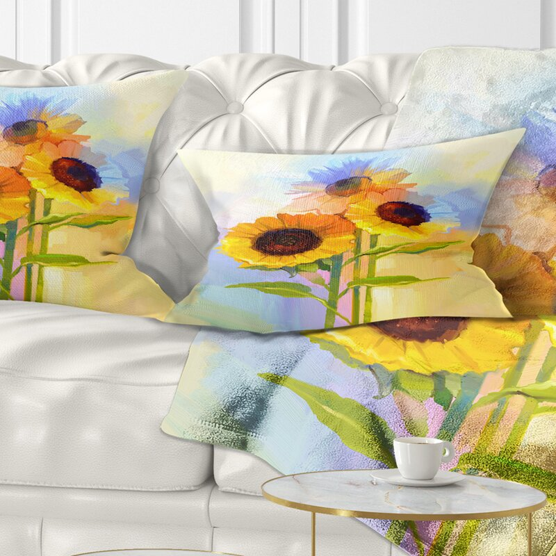East Urban Home Floral Sunflowers With Leaves Lumbar Pillow Wayfair