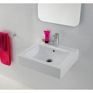Bissonnet Universal Ceramic Rectangular Vessel Bathroom Sink with Overflow