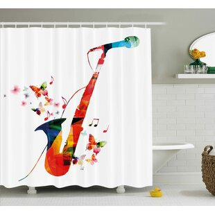 Colorful Saxophone Single Shower Curtain by East Urban Home Amazing