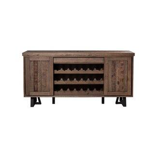 Indelicato Wood and Metal Wine Holder Sideboard Gracie Oaks