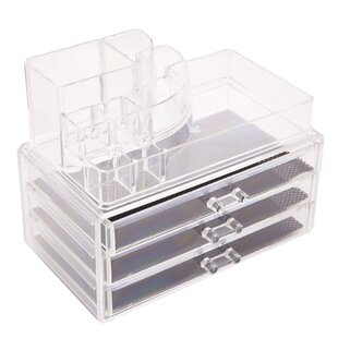 Coupon Rectangular Room-Saving 3-Layer Drawers Plastic Accessory Box By Rebrilliant