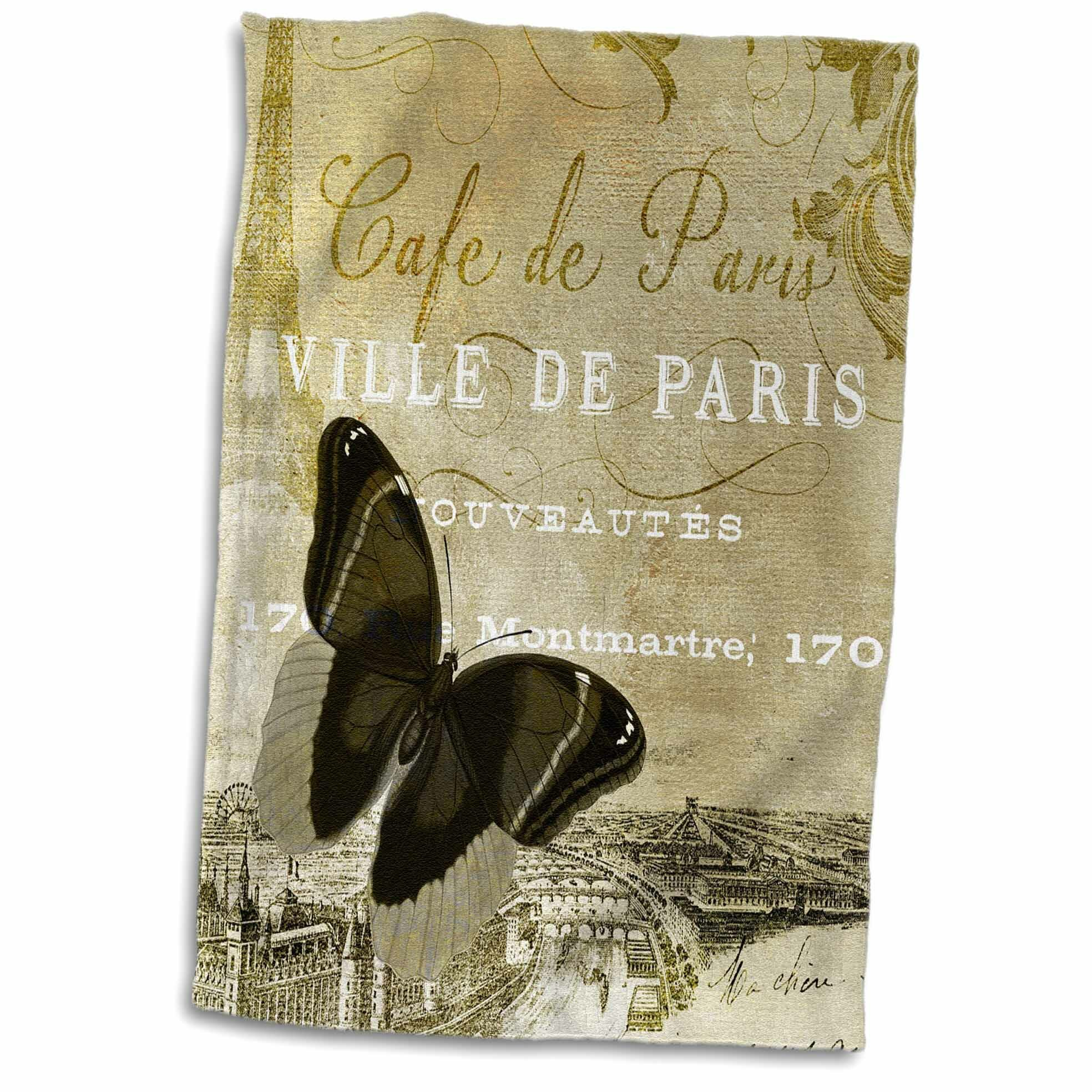 Symple Stuff Keil Cafe De Paris Vintage Butterfly Chic Art Hand Towel Wayfair