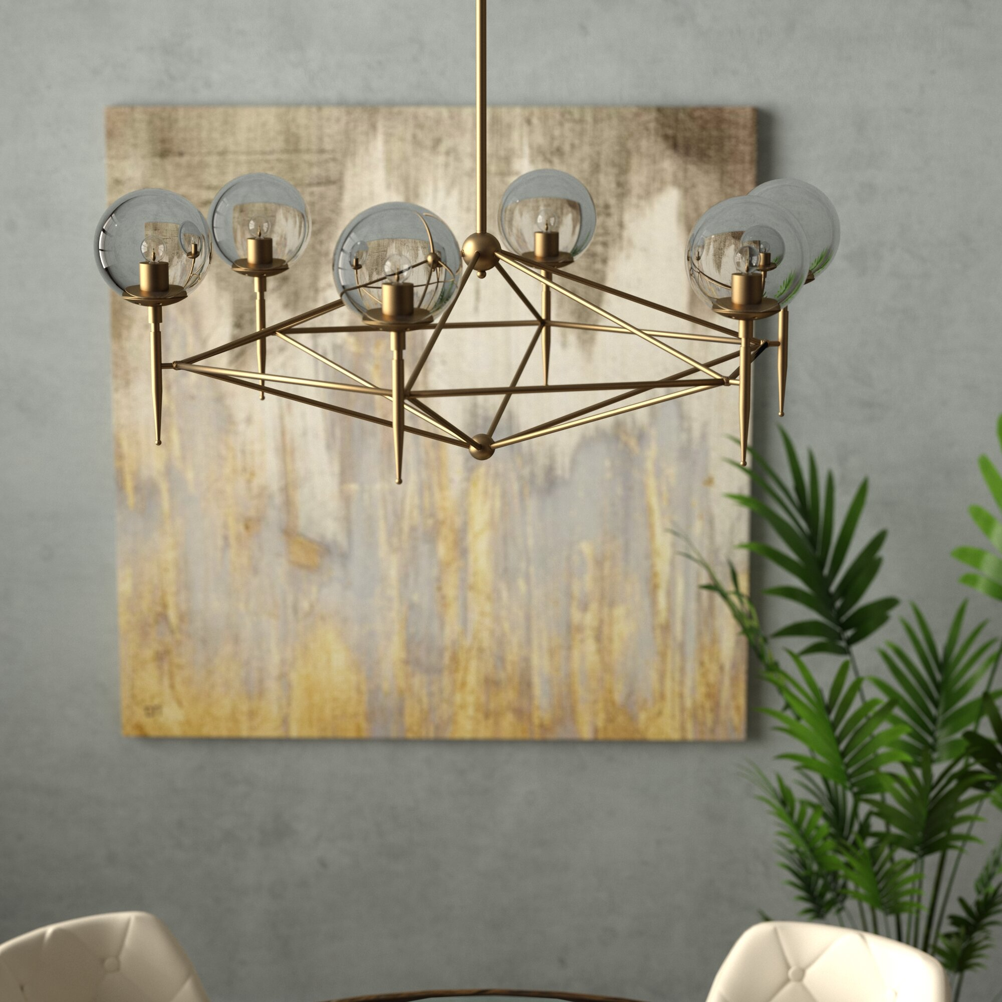 Ivy Bronx Eastbourne 6 Light Unique Statement Geometric Chandelier Reviews Wayfair