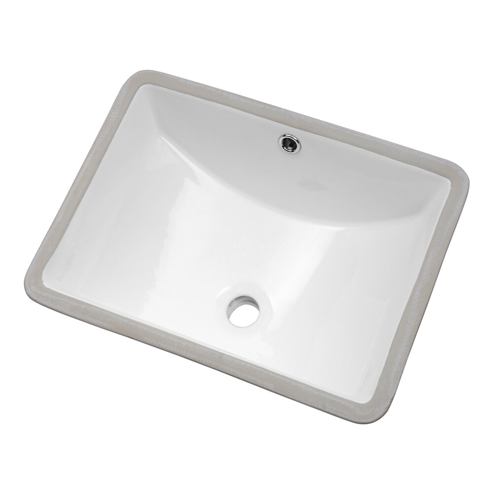 Lordear White Ceramic Handmade Rectangular Undermount Bathroom Sink With Overflow Wayfair