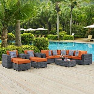Brayden Studio Keiran 10 Piece Sunbrella Sectional Set with Cushions