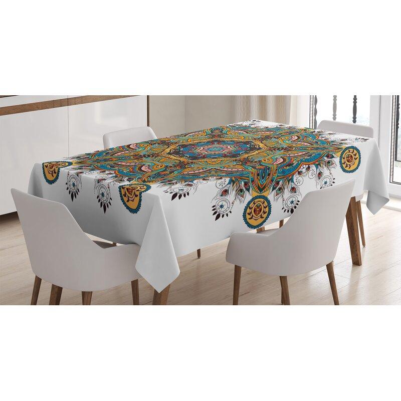 Boho Tribal Circles Cream Cotton Sateen Tablecloth by Spoonflower Mandala Tablecloth Boho Tribal Circles Cream by bohemiangypsyjane