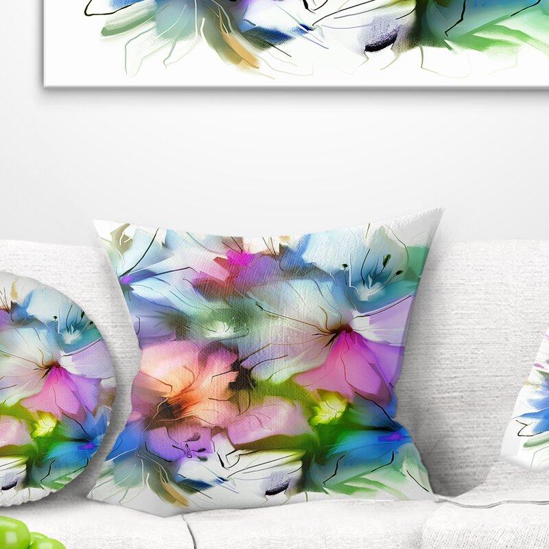 East Urban Home Floral Watercolor Bouquet Pillow Wayfair