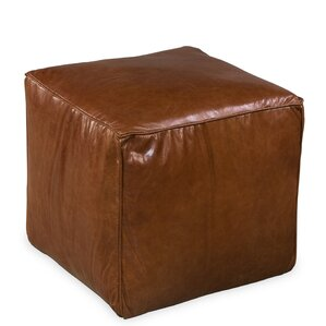 Cube Leather Ottoman by Sarreid Ltd