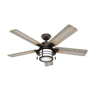 Best Price 54 Key Biscayne Prestige 5 Blade Outdoor Ceiling Fan with Light By Hunter Fan
