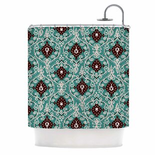 'Bohemian Paisley Pattern' Digital Illustration Single Shower Curtain