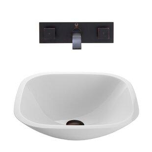 Phoenix Glass Square Vessel Bathroom Sink with Faucet VIGO