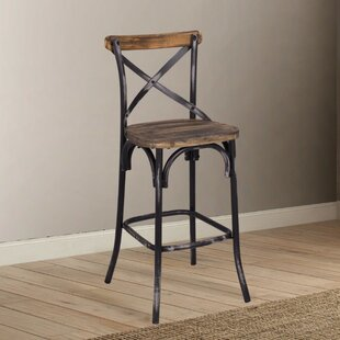 Leonetti Walnut and Antique Bar Stool by Gracie Oaks