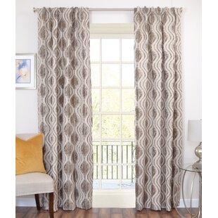 Highgrove Clifton Ikat Geometric Semi-Sheer Rod Pocket Single Curtain Panel by Elite Textile, Inc.