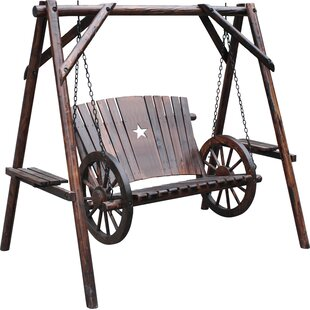 Char-Log Wagon Wheel Porch Swing with Stand
