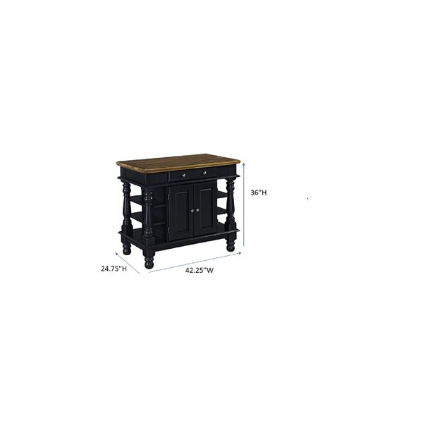 August Grove Collette 42 Kitchen Island With Solid Wood Top Reviews Wayfair