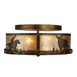 Meyda Tiffany Cowboy and Steer 2-Light Flush Mount