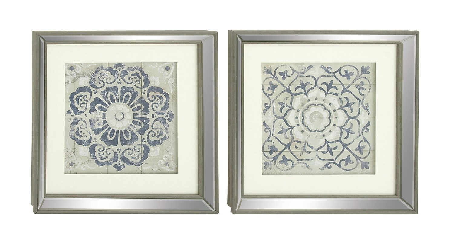 Attirant Polystone Mirror Framed Wall Art Set