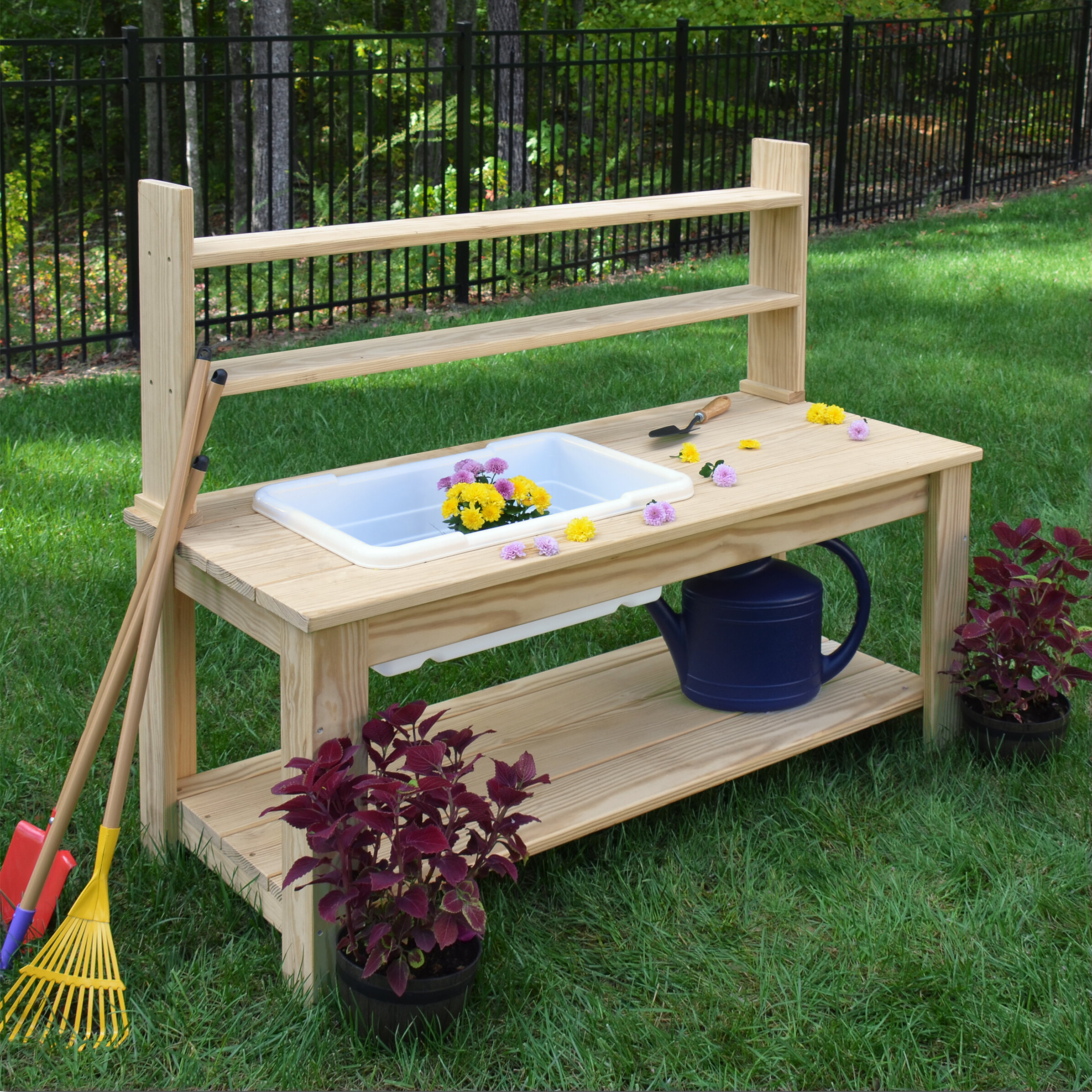 Lakewood 3 Person Swing, Wood Designs Farmhouse Wood Potting Bench Wayfair